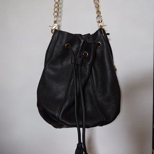Kookai black leather bucket bag
